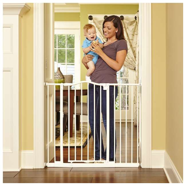 NS-4978 + NS-4974 North States Portico Arch Tall & Wide Safety Gate & 13.42 Inch Extension, Ivory 3