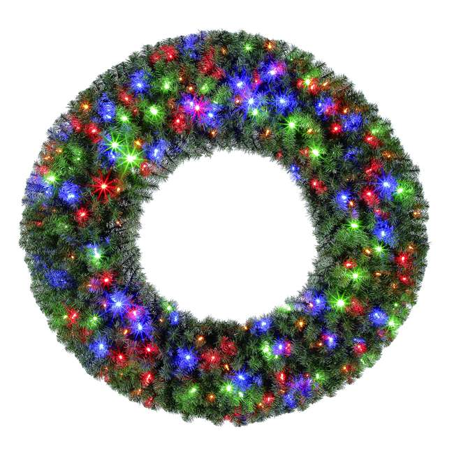 GD4000CYKD00 Home Heritage 48 Inch Holiday Christmas Wreath X976 Tips w/ 200 Color LED Lights