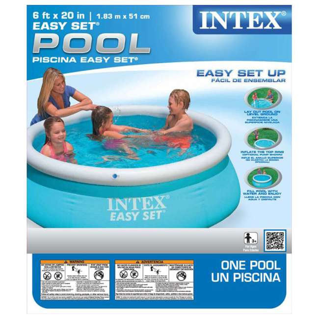 28101EH + 28601EG Intex 6' x 20-Inch Easy Set Inflatable Swimming Pool with Filter Pump 6