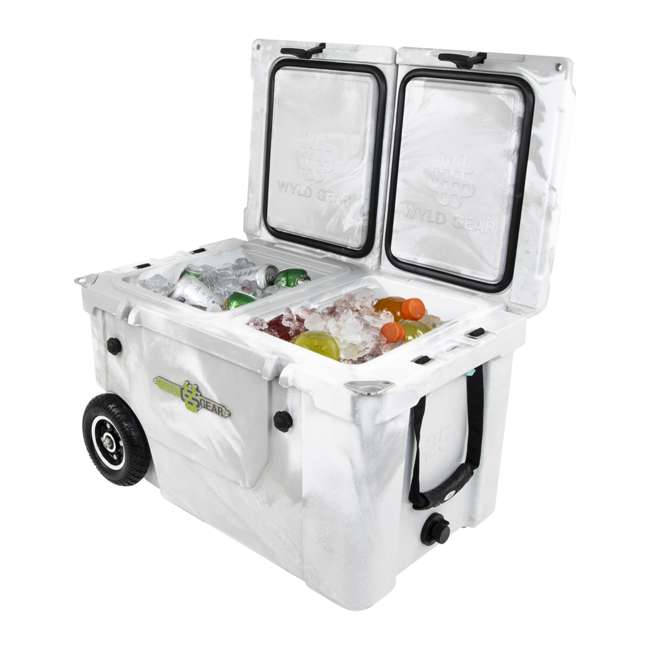 HC50-17W WYLD HC50-17W 50 Quart Dual Compartment Insulated Cooler with Wheels, White/Gray 2