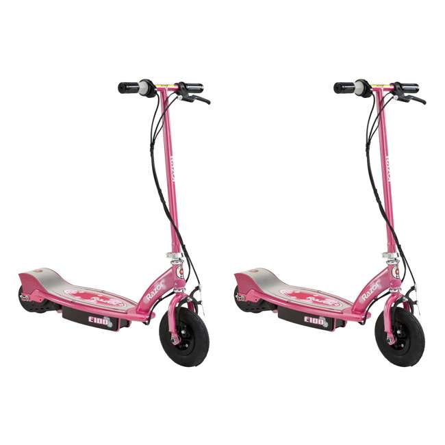 13111263 Razor E100 Electric Motorized Rechargeable Kids Scooter, Sweet Pea (2 Pack)