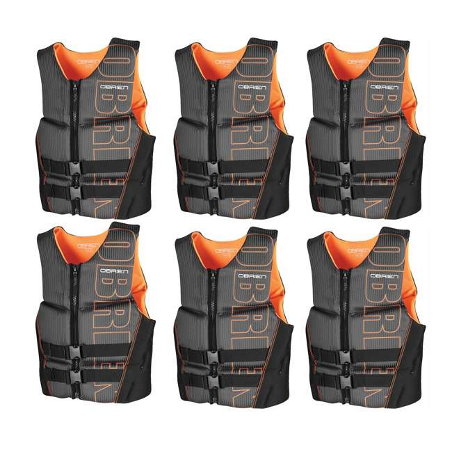 6 x 2161736-MW OBrien BioLite Series Men's Flex V Back Life Vest Size L, Black/Orange (6 Pack)