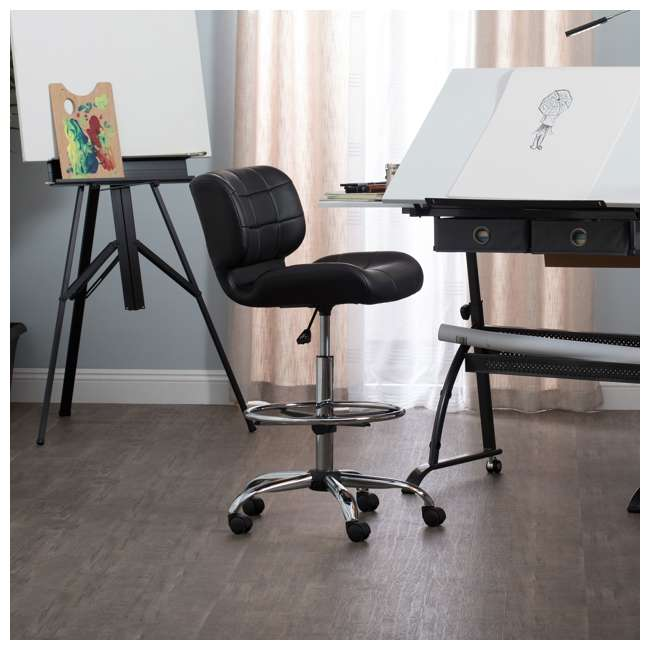 STDN-10659-U-A Studio Designs Crest Low-Back Height Adjustable Drafting Chair, Black (Open Box) 1