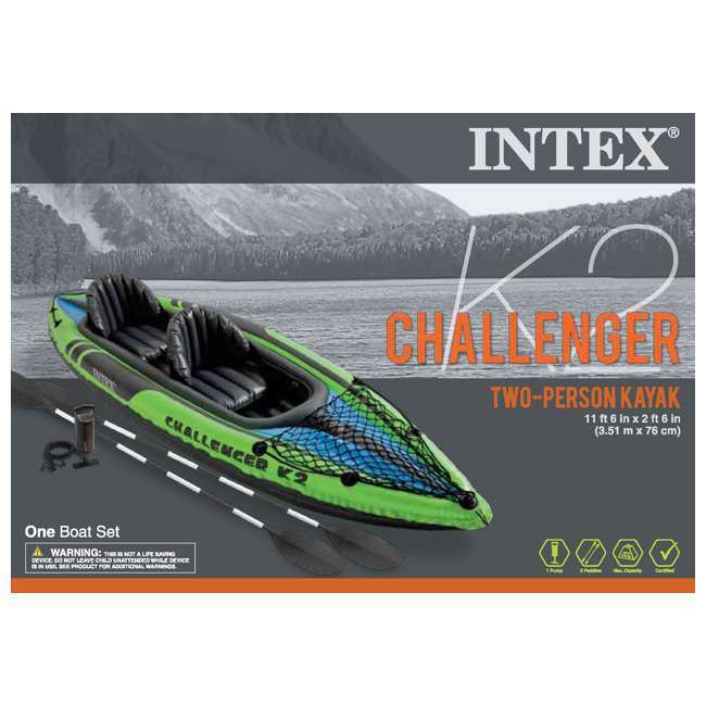 Intex Challenger K2 2 Person Inflatable Kayak With Oars And Pump