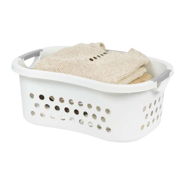589132-3PK IRIS 589132 Comfort Carry White Plastic Lightweight Laundry Basket, Pack of 3 3