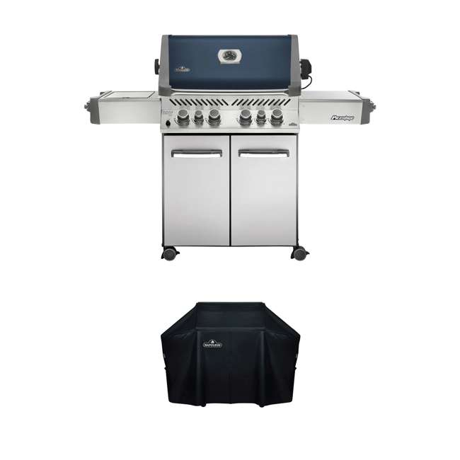 P500RSIBPB-1 + WS-61500 Napoleon Prestige Grill with Infrared Side and Rear Burners + Protective Cover