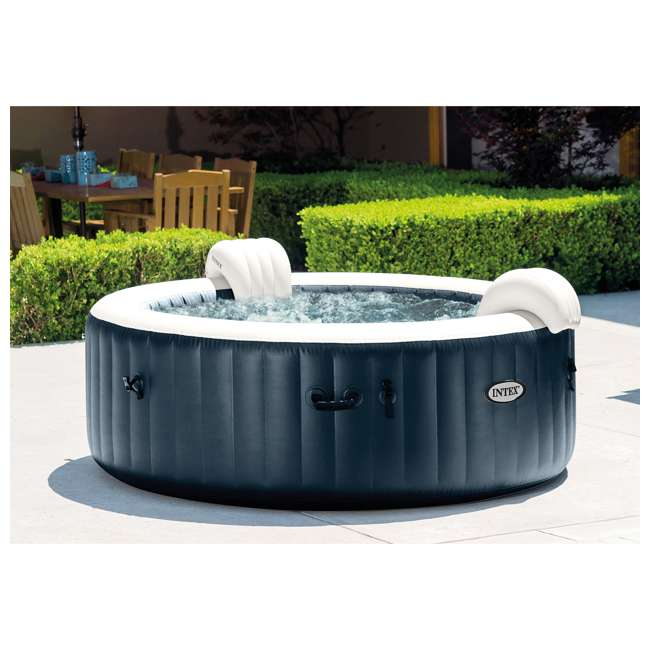 28431E Intex PureSpa Plus 6 Person Portable Inflatable Hot Tub Bubble Jet Spa, Navy 2