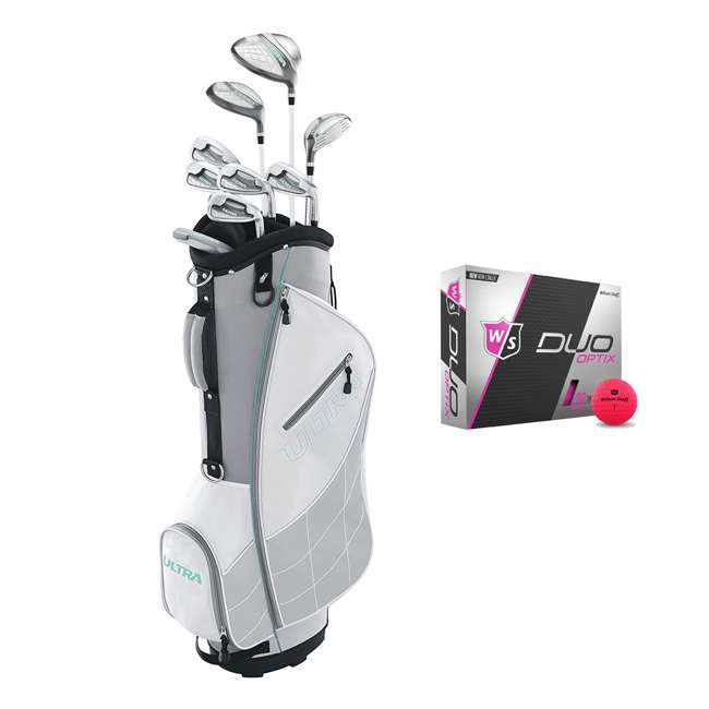 WGGC43300 + WGWP43500 Wilson Ultra Ladies Right-Handed Golf Club Set with Cart Bag & Balls