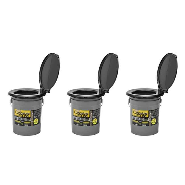 3 x 9853-03 Reliance Products Luggable Loo Portable Lightweight 5 Gal Toilet, Gray (3 Pack)