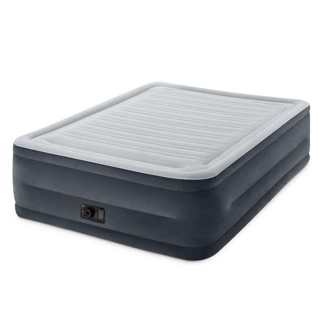 64417E Intex Queen Comfort Plush High Rise Dura-Beam Air Bed Mattress w/ Built-In Pump 64417E