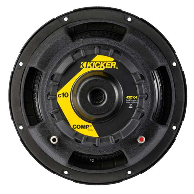 43C104 + QBASS10 + R1100M + 4GAMPKIT-SFLEX Kicker 10C104 10-Inch 600W Subwoofers with Box with 1100W Amplifier with Wire Kit (Pair) 4