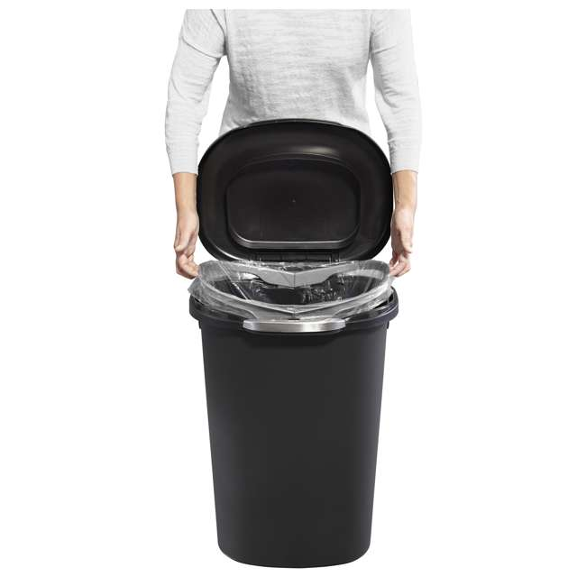 1843027 Rubbermaid Touch Top 13 Gallon Plastic Wastebasket Trash Can w/ Lid & Liner Lock 2