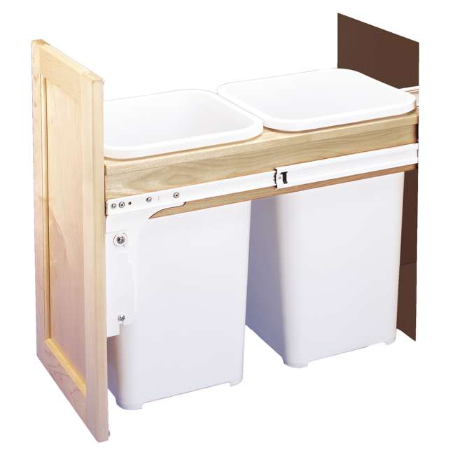 4WCTM-15DM2-25 Rev-A-Shelf 4WCTM-15DM2 Double 27 Qt Pull Out Top Mount Trash Container, White 1