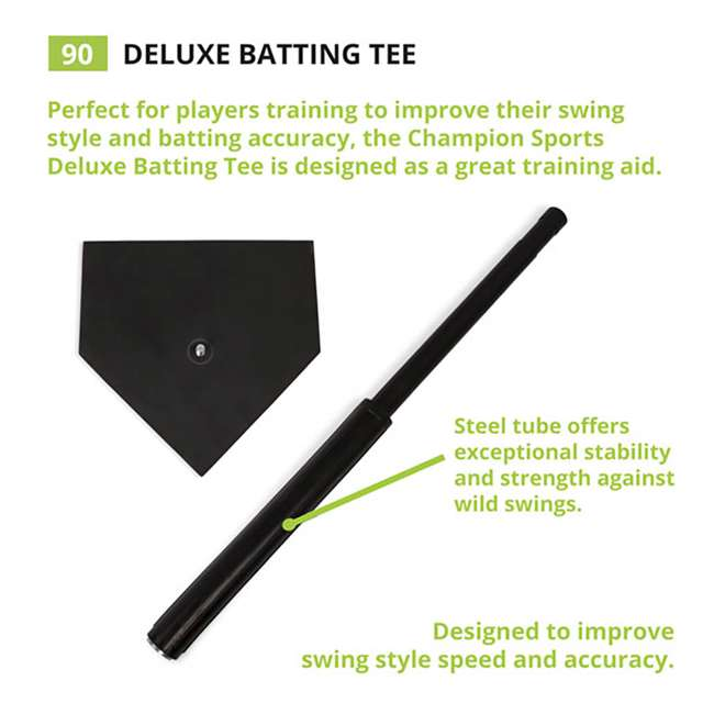 90 Champion Sports Height Adjustable Deluxe Baseball or Softball Batting Tee, Black 3