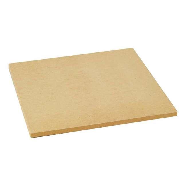 BOPA-24208 + BOPA-24223 Bull 15-Inch Square Pizza Stone, Brown & Double Dough Roller 1