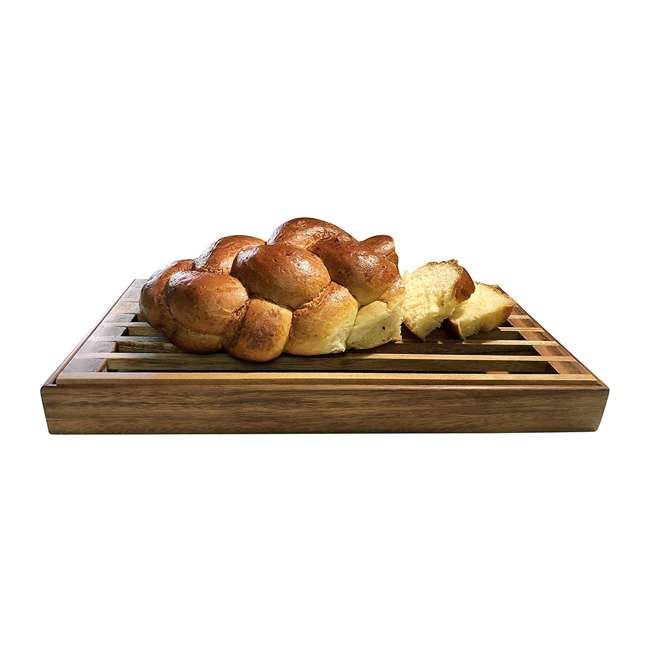 KALMAR-441 Kalmar Home 441 3 in 1 Acacia Wood Tray, Trivet, and Bread Crumb Catcher, Brown
