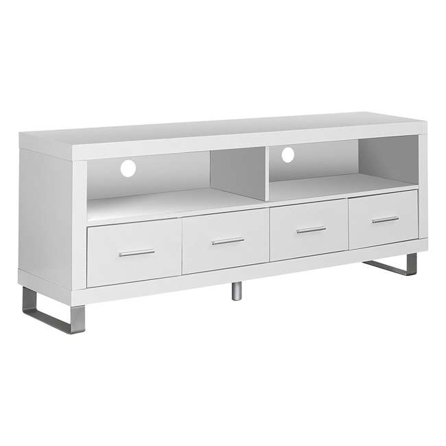 VM-2518 Monarch Contemporary Entertainment Center TV Stand w/ Storage, White (2 Pack) 1