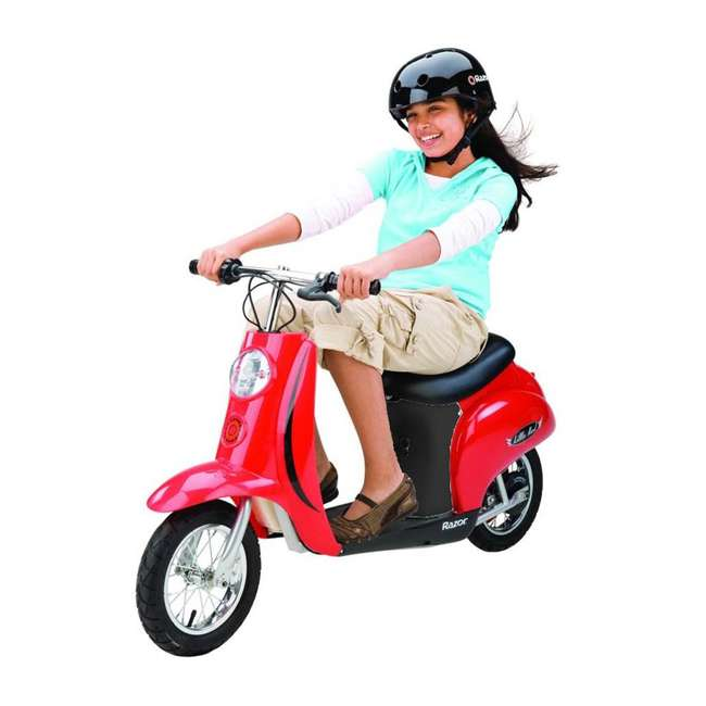15130656 + 15130601 + 2 x 97778 Razor Pocket Mod Miniature Electric Scooters, 1 Red & 1 Black + Helmets 3