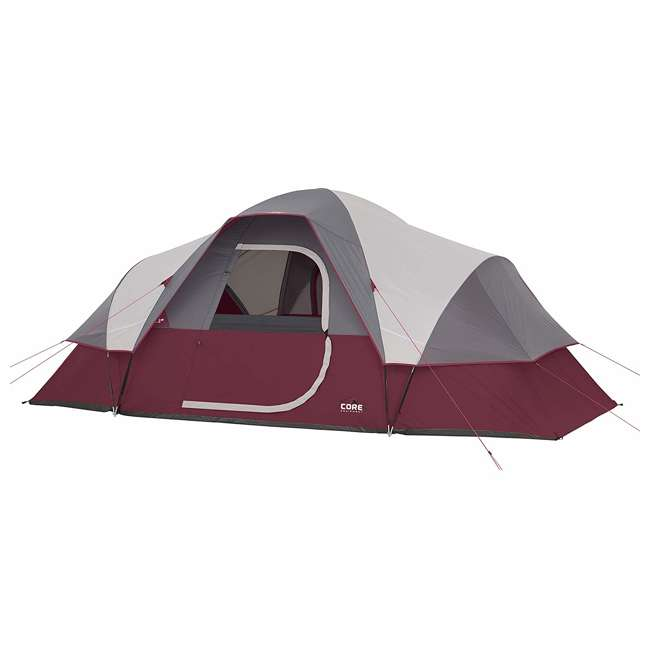 CORE-40066-U-A CORE 9-Person Extended Dome Tent, 16 x 9 Feet, Red (Open Box)