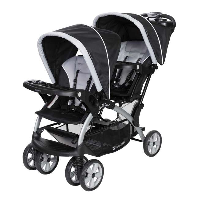 SS76B51A + 2 x CS79B51A Baby Trend Sit N Stand Tandem Stroller + Car Seats (2) Travel System, Stormy 1