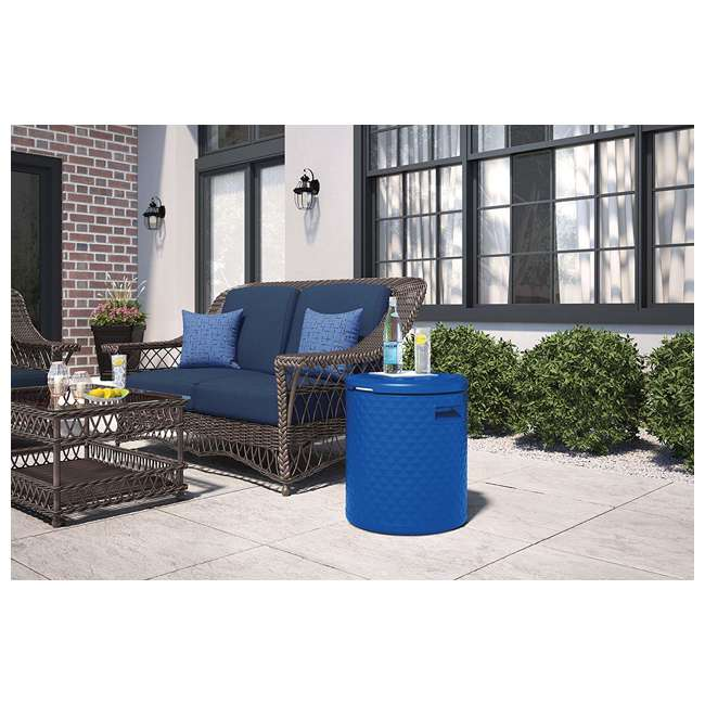 BMDC1000BD Suncast 3 in 1 Design 54 Quart Resin Cooler Side Table & Decorative Stool, Blue 3