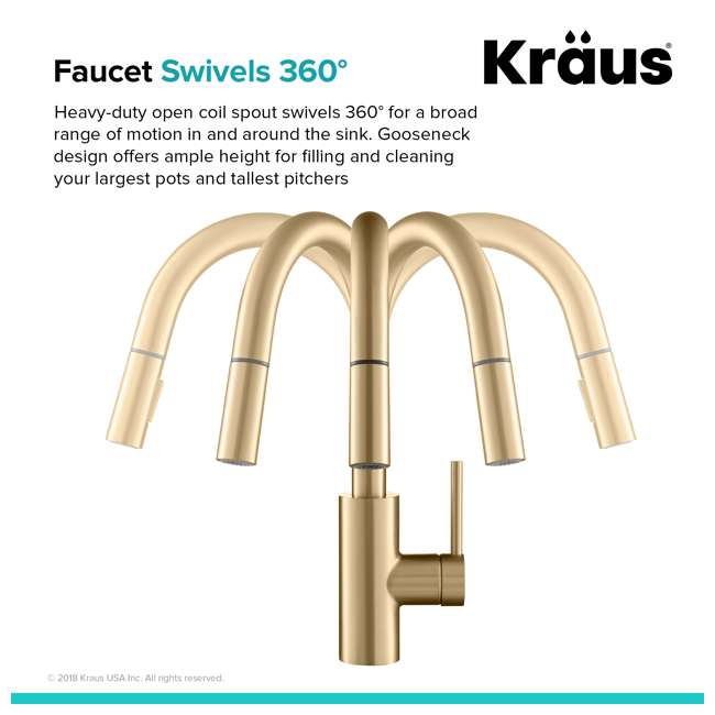 KPF-2620BB-U-A Kraus Oletto Single Handle Gooseneck Sink Faucet, Gold Finish (Open Box) 3