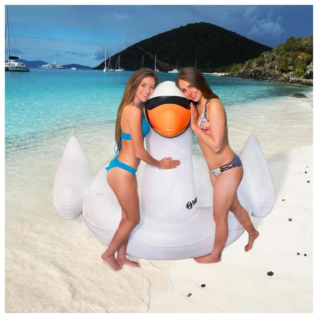 6 x SL-19671-U-A Swimline Giant Swan Inflatable Ride On Pool Float Raft, White (Open Box)(6 Pack) 5