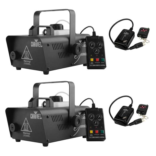 H1200 + 2 x FC-W Chauvet DJ Hurricane 1200 1.0L Pro Fog/Smoke Machine (2 Pack) & Wireless Remotes