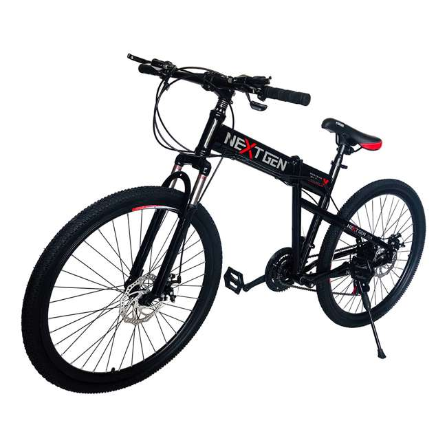 "MTB011-BLK NextGen 26"" 21 Speed Shimano Foldable Hardtail Downhill Mountain Bike, Black"