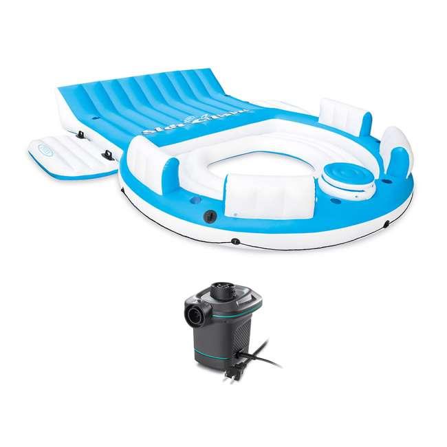 56299EP + 66639E Inflatable Island Pool Lake Raft Float Lounger w/ AC Electric Air Pump