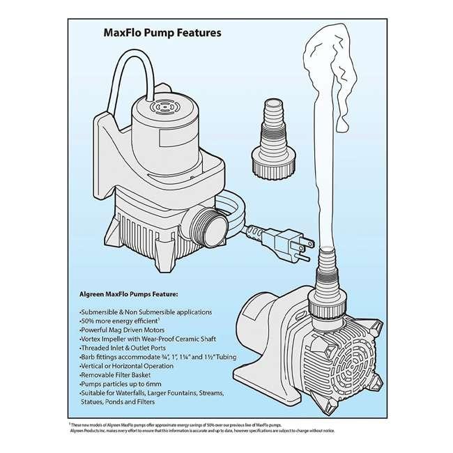ALG-91201 Algreen Products MaxFlo 1200 GPH Outdoor & Garden Pond Pump  2
