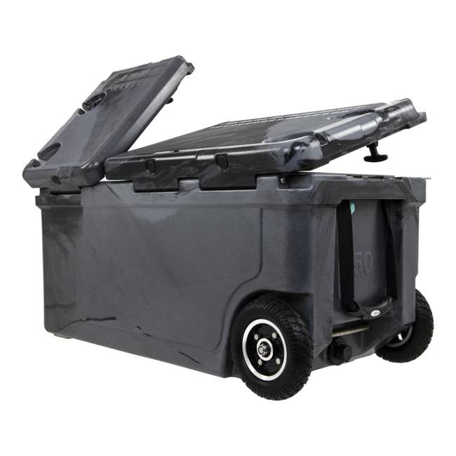 HC75-17SB WYLD 75 Quart Pioneer Dual Compartment Insulated Cooler w/ Wheels, Black/Silver 1