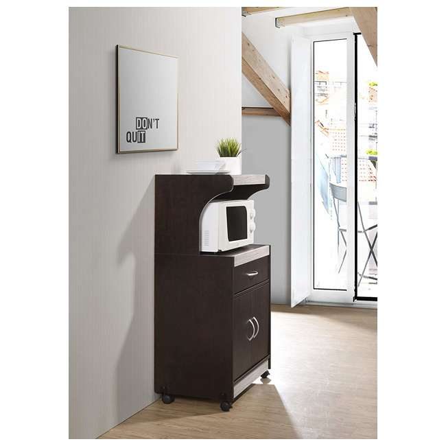 HIK72 CHOCO-GREY  Hodedah Wheeled Microwave Cart with Drawer and Cabinet Storage, Chocolate Grey 3