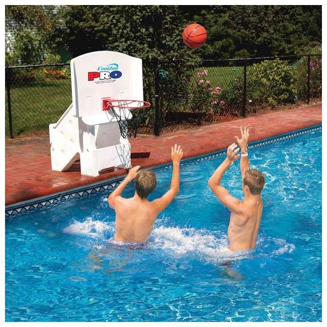 9195M + 9186 Swimline Super Wide Inground Swimming Pool Basketball Hoop & Volleyball Net 2