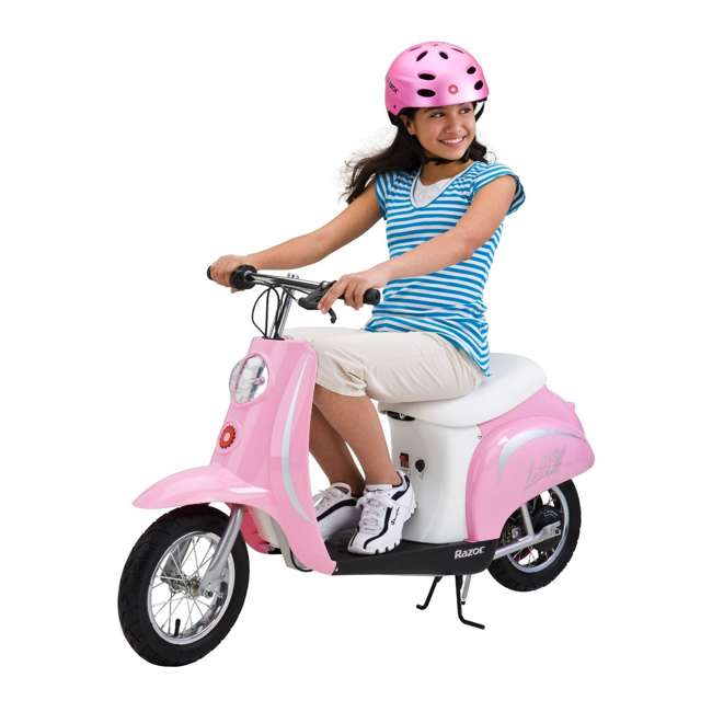 15130610 + 97783 + 96784 Razor Pocket Mod Electric Retro Scooter + Youth Sport Helmet + Elbow & Knee Pads 2