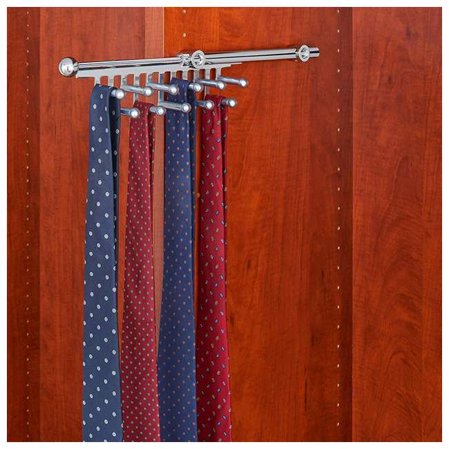 CTR-12-CR Rev-A-Shelf CTR-12-CR 12 in Chrome Pullout Tie and Scarf Rack Organizer, Chrome 3