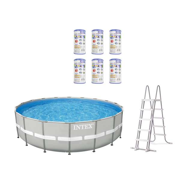 "26303EH + 6 x 29000E Intex 20' x 48"" Ultra Frame Above Ground Pool Set + Filter Cartridge (6)"