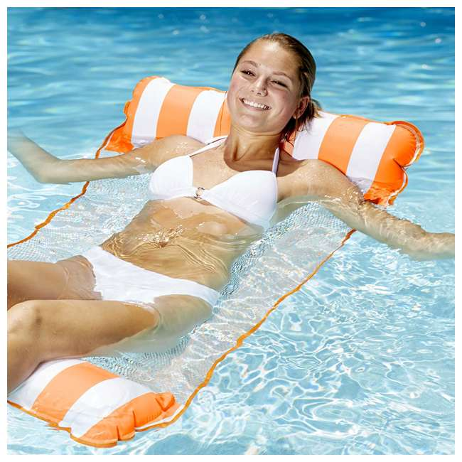 AQL10999 AquaLeisure 4-in-1 Monterey Hammock Swimming Pool Float, Orange/White Stripe 2