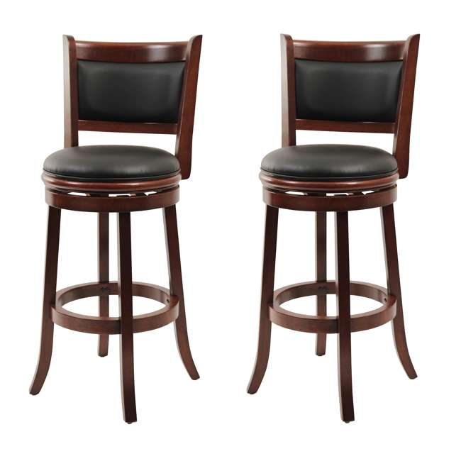 Boraam 29 Inch Augusta Swivel Bar Stool Cherry 2 Pack