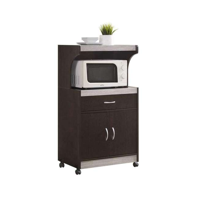 HIK72 CHOCO-GREY  Hodedah Wheeled Microwave Cart with Drawer and Cabinet Storage, Chocolate Grey