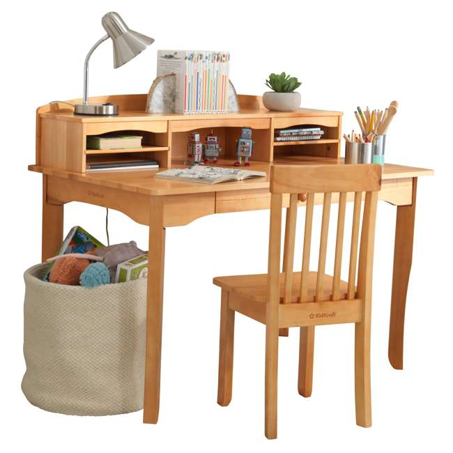 26707 KidKraft Avalon Wooden Kids Room Study Desk with Hutch & Chair Set, Natural