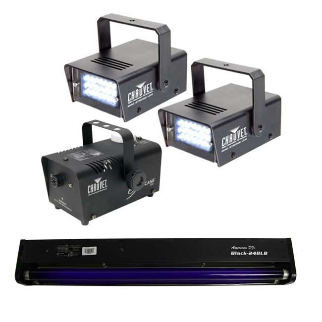 H700 + 2 x MINISTROBE-LED + BLACK-24BLB (2) CHAUVET LED Strobe Lights + H700 Fog Smoke Machine + Black-24BLB Blacklight