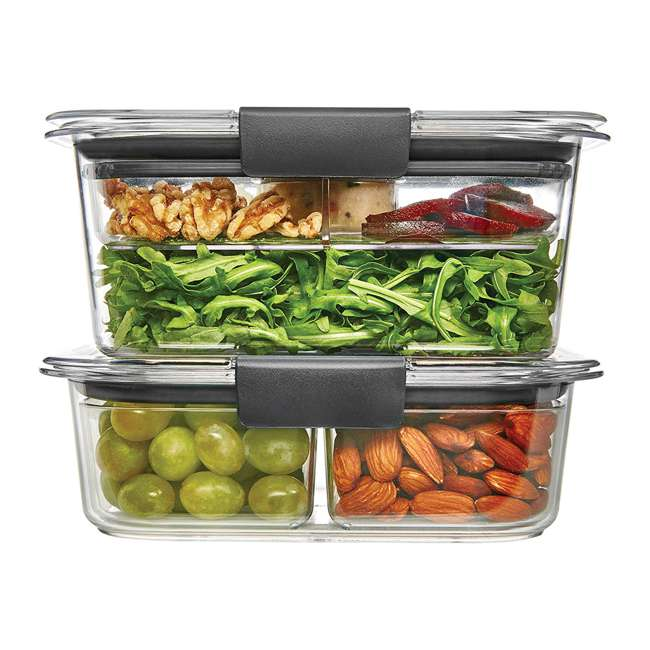 2027441 Rubbermaid Brilliance 9 Piece Food Storage Container Combo Kit Set, Clear/Gray 1