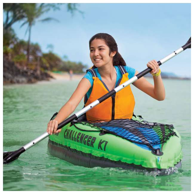 Intex Challenger K1 1-Person Inflatable Kayak With Oars And Pump