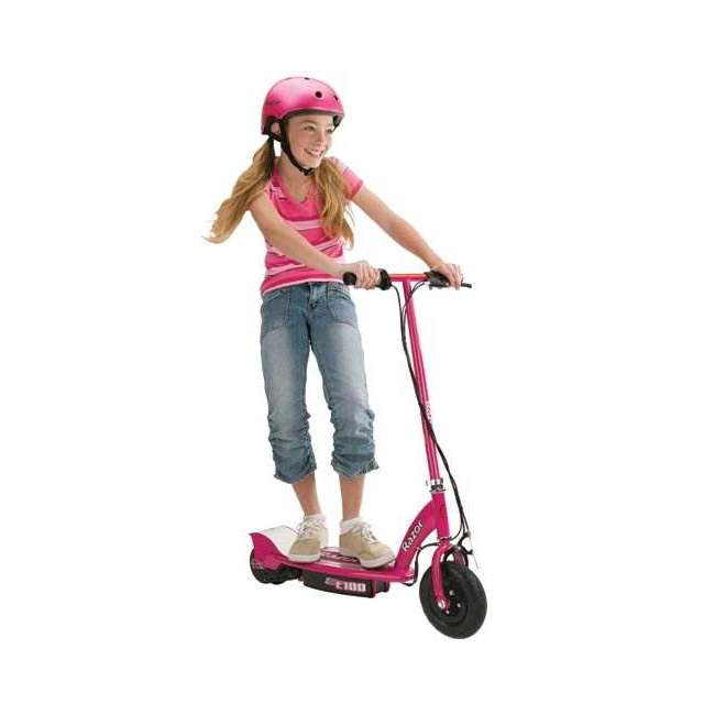 13111261 + 97783 Razor E100 Kids Motorized 24 Volt Electric Powered Ride On Scooter with Helmet 1