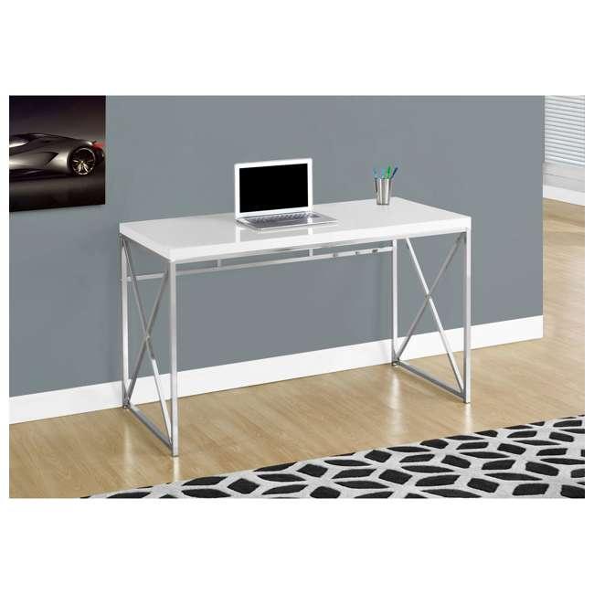 "MS-VM7205-U-B Monarch Specialties 48"" Modern Contemporary Computer Desk, Glossy White (Used) 2"
