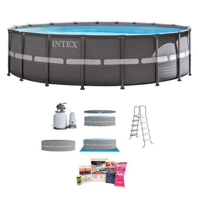 """26331EH + QLC-42003 Intex 18' x 52"""" Ultra Frame Above Ground Pool with Sand Pump & Chemical Cleaning Kit"""