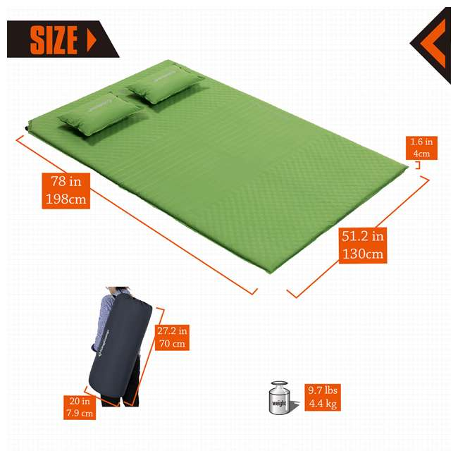 KM359460040000 KingCamp Double Self Inflating Camping Sleeping Pad Mat with 2 Pillows, Green 3