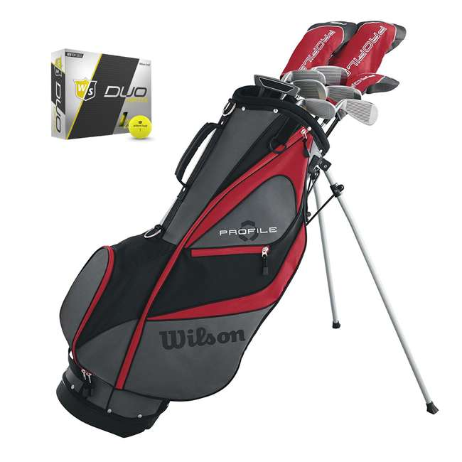WGGC5800L + WGWP40150 Wilson Profile XD Men's Left Handed Golf Club Package Set & Balls