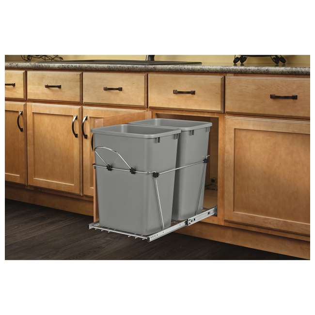 RV-18KD-17C S Rev-A-Shelf RV-18KD-17C S Double 35 Quart Pull-Out Waste Containers, Silver 3
